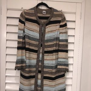 MISSONI Long Duster Cardigan Blue Brown White 40